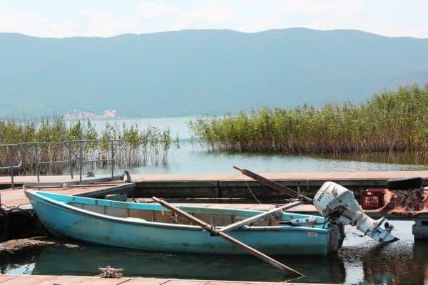 Fishing boat at Prespes Lake Florina northern Greece