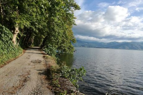 Cycling on the lake of Kastoria
